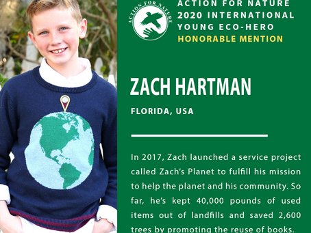 Zach wins Honorable Mention for Action for Nature Eco Heroes