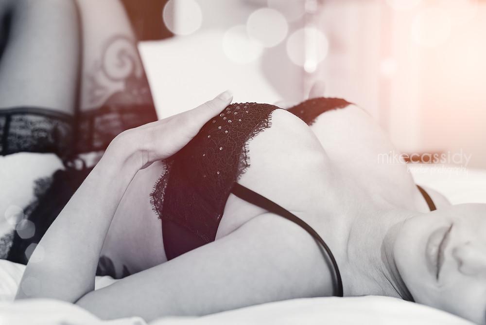 woman in black lace bra
