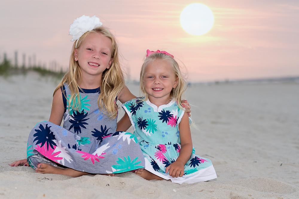 sisters on the beach in Seaside Park NJ
