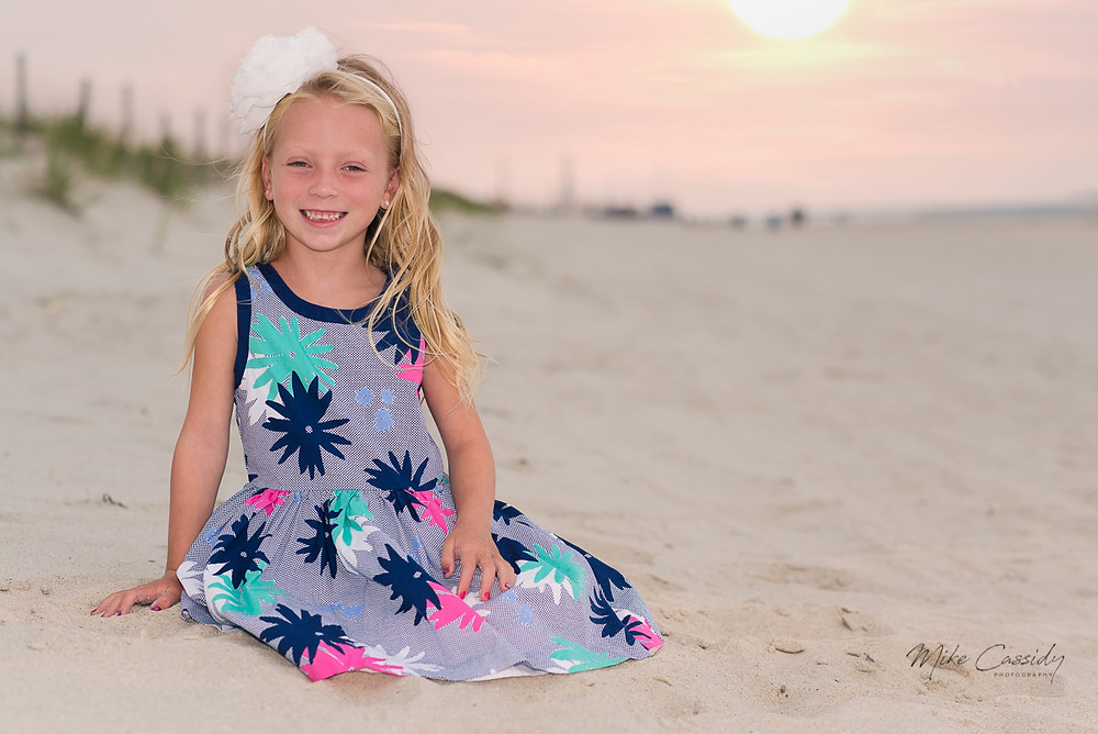 cute young girl on the sand in Seaside Park NJ