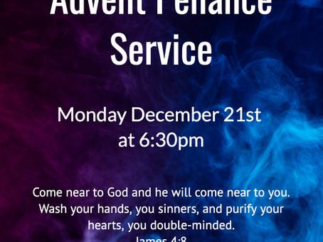 Advent Penance Service Dec. 21st