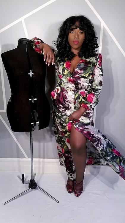 Silk Floral Button-up Dress w/ Pockets