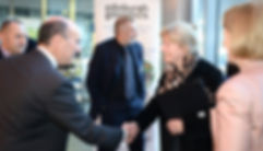 Professor Tim Aitman greets Shona Robison MSP, the Cabinet Secretary for Health and Sport, on arrival at the Roslin Institute
