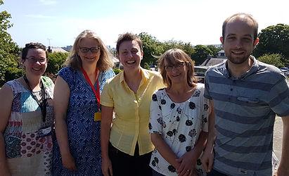 The Aberdeen-based members of the team developing the SGP Genomics of Rare Disease (SGP:GRD) Health Economics project  L to R: Lynne Mennie (SGP:GRD Project Manager), Zosia Miedzybrodzka (Chief InvestigatorSGP:GRD), Mandy Ryan (Director of HERU), Lynda McKenzie and Sebastian Heidenreich (Research Fellowsat HERU)