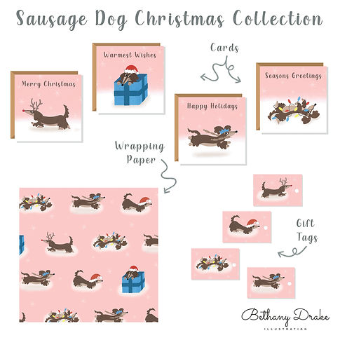 Sausage Dog Christmas Collection Mock Up