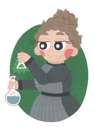 Marie Curie Bottles Illustration