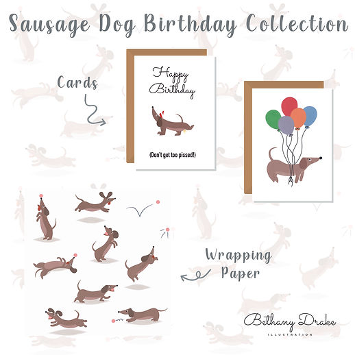Sausage Dog Birthday Collection Mock Up.