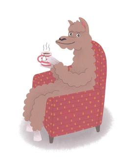 Llama Link Magazine - Chat Over A Cuppa Illustration