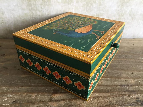 Peacock Painted Box