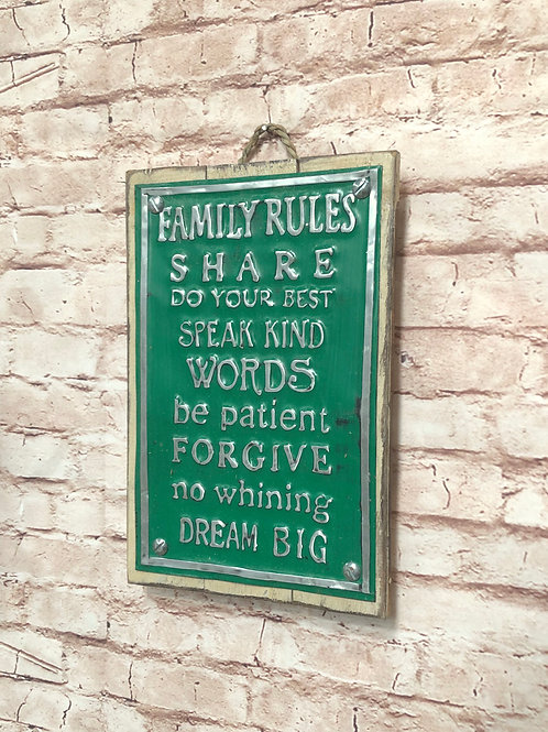 Family Rules Metal A4 Sign