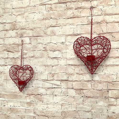 Hanging Heart Tea Light Cages