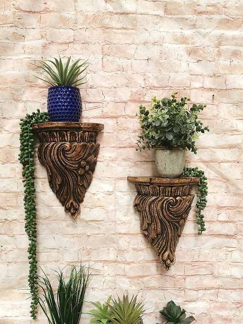 Wooden Feather Wall Sconce