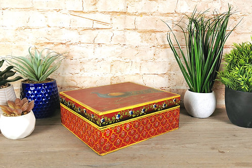 Crimson Peacock Painted Box