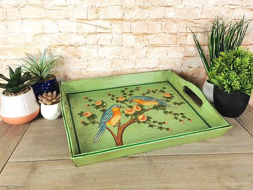 Green Bird Decorative Tray