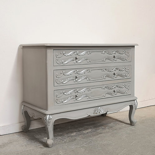 Lyon Chest French Grey with Silver Accents
