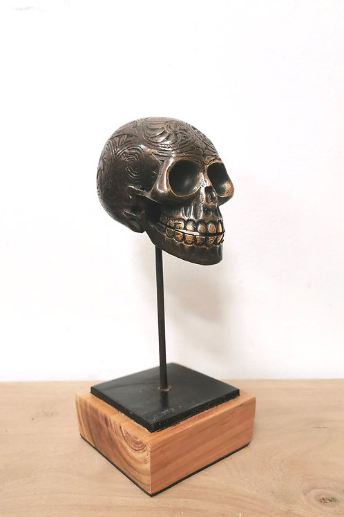Brass Carved Skull on Stand
