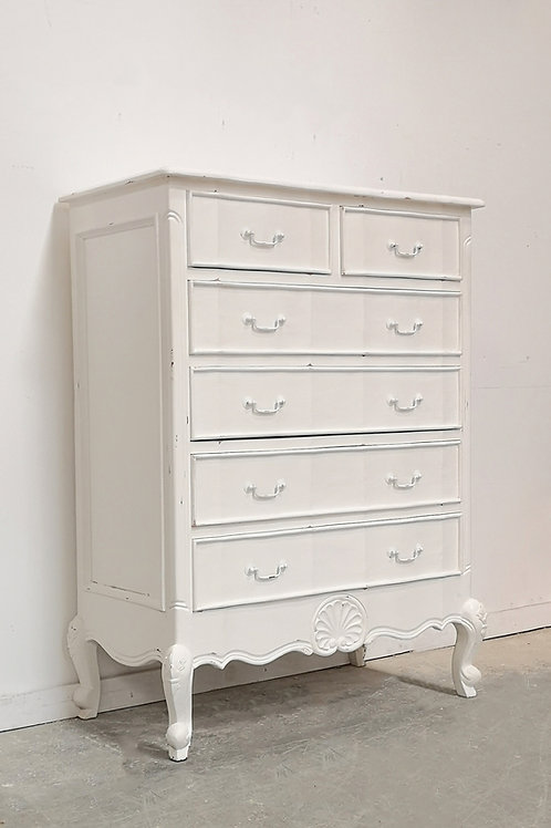 Serpentine Tall Chest Blanc