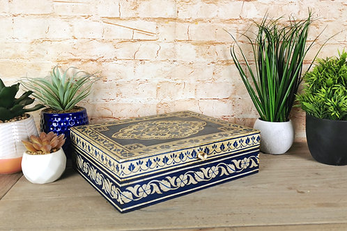 Navy and Ivory Traditional Painted Box