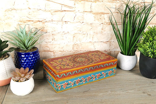 Turquoise and Red Floral Box