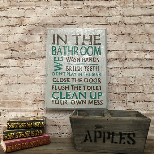 Bathroom Rules Wooden Sign