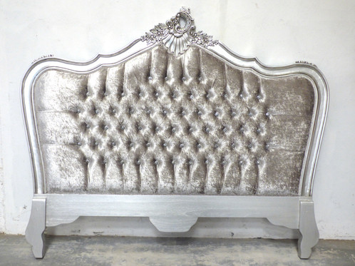 this bed has been finished in silver and upholstered in our grey crushed velvet fabric the headboard