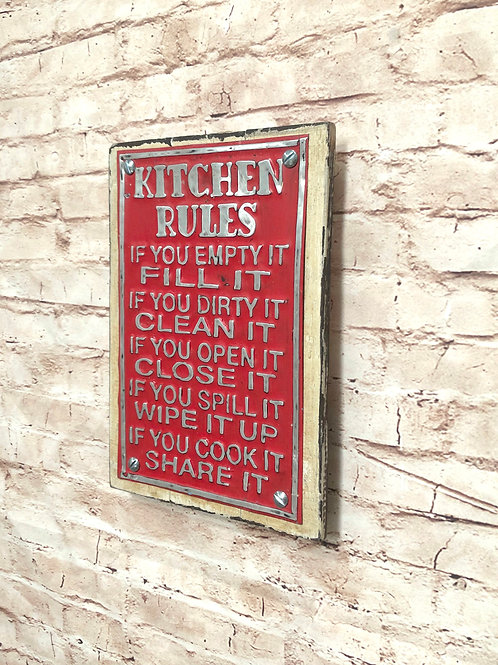 Kitchen Rules Metal A4 Sign