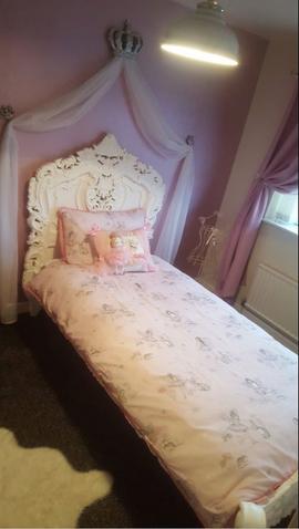 Single Rococo bed Blanc