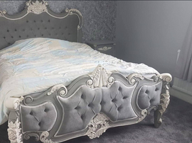 Palais bed French Grey White Accents