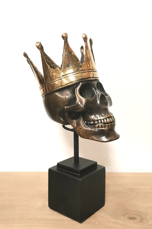 Large Brass Skull with Crown