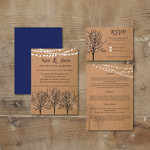 winter tree wedding invitation
