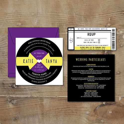 vinyl wedding invitation