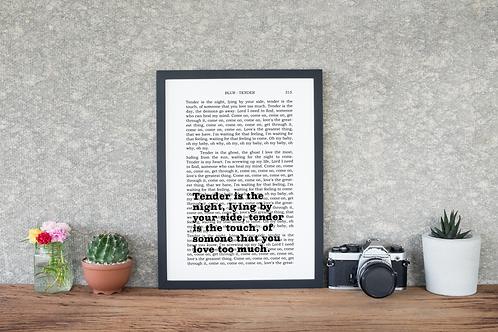 book page lyrics - tender