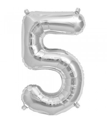 "Number ""5"" Silver Helium Balloon"
