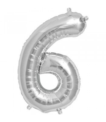 "Number ""6"" Silver Helium Balloon"