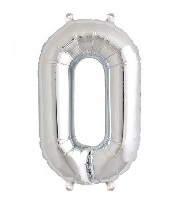 "Number ""0"" Silver Helium Balloon"