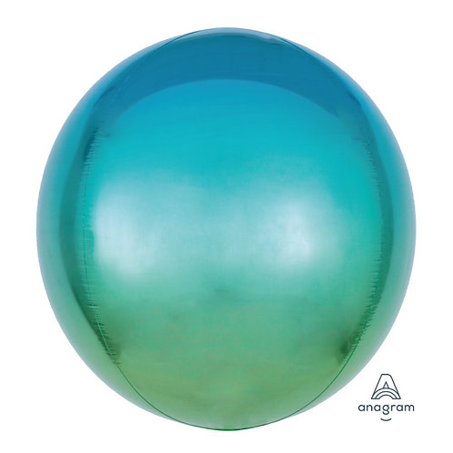 """15"""" Ombre Blue and Green Orbz Balloon"""