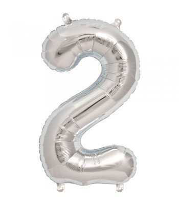 "Number ""2"" Silver Helium Balloon"