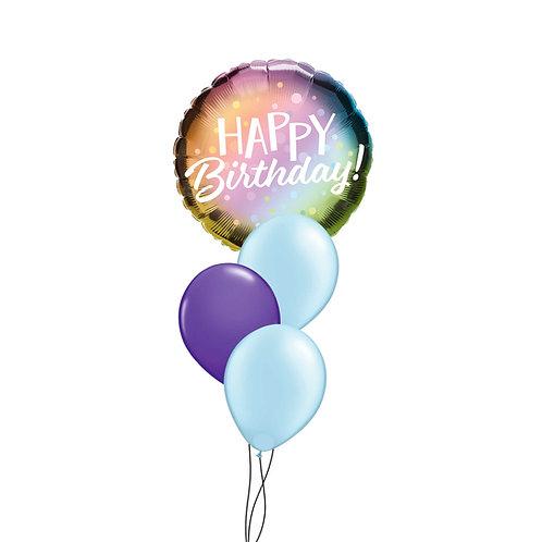 Happy Birthday Metallic Ombre & Dots Cluster