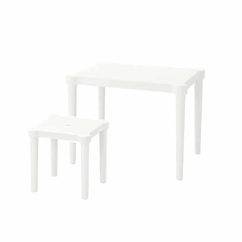 White Kids Tables & Stools Rental