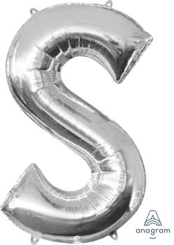 """40"""" Letter """"S"""" Silver Helium Balloon"""