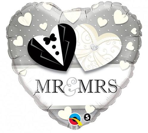 "18"" Mr & Mrs Heart Foil Balloon"