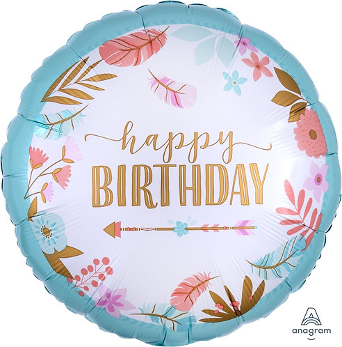 """17"""" Boho Birthday Foil"""