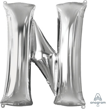 "40"" Letter ""N"" Silver Helium Balloon"