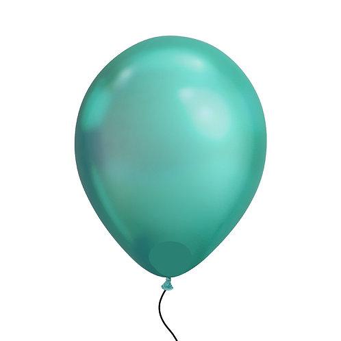 "11"" Chrome Green Helium Balloon"