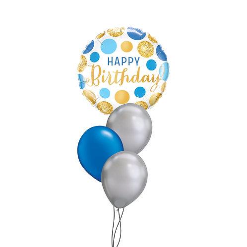 Birthday Blue & Gold Cluster