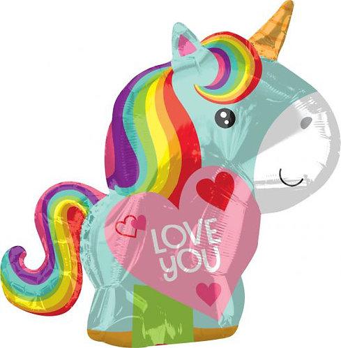 "23"" x 23"" I Love You Unicorn Foil"