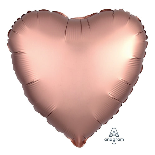 "18"" Satin Luxe Rose Copper Heart Foil"