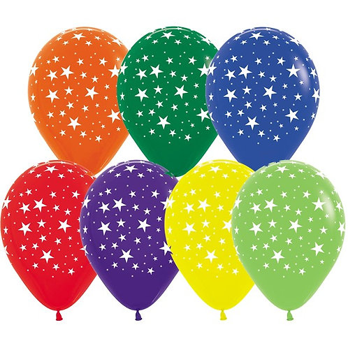 "11"" All Over Happy Birthday Star Helium Balloon"