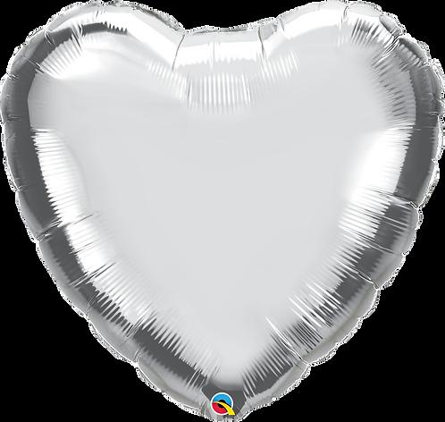 """18"""" Silver Heart Foil"""