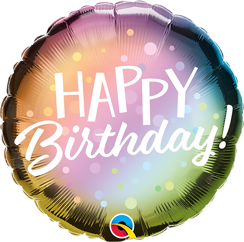 "18"" Happy Birthday Metallic Ombre & Dots Foil"